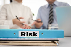 Risk. Document file risk management on desk office. Protection Concept Royalty Free Stock Images