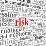 Risk in economy and finance concept in word tag cloud on white b Royalty Free Stock Photography