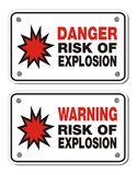 Risk of explosion - rectangle sign Royalty Free Stock Photo