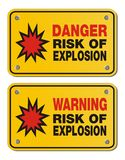 Risk of explosion - rectangle yellow signs Stock Photos
