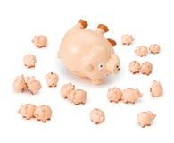 risk för krediteringsskuldpiggybank Arkivfoto