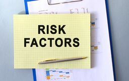 RISK FACTORS text written on notepad with pencil. Notepad on a folder with diagrams