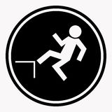 Risk of falling from height of human danger sign black circle isolated. On white. Vector illustration of warning character and attention symbol. Professional Stock Images