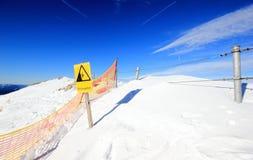 Risk of falling! The Nebelhorn Mountain in winter. Alps, Germany. Stock Photo