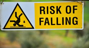 Risk of falling sign Royalty Free Stock Images