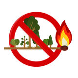 Risk of fire in forest. Forest on earwax. Flame consuming the forest Royalty Free Stock Photography