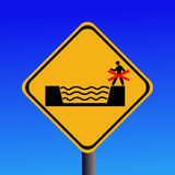 Risk of flash flooding sign. Beware keep out risk of flash flooding sign illustration Stock Photos