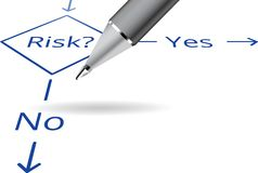 Risk flowchart with ball pen. Risk Yes No flowchart concept with ball pen. Yes or no Stock Photo