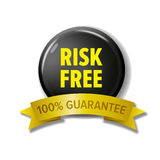 Risk free label in black and yellow colors. Stock Photography