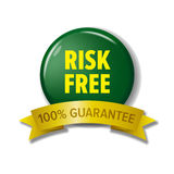 Risk free label in green and yellow colors Stock Photo