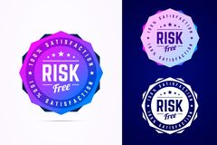 Risk free round badge. Vector sign in trendy gradient style. Risk free round badge. Vector sign in trendy gradient style in three color variants for product royalty free illustration