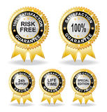 Risk free warranty guarantee. With gold colour Royalty Free Illustration