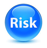 Risk glassy cyan blue round button Stock Images
