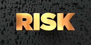 Risk - Gold text on black background - 3D rendered royalty free stock picture Stock Images