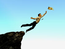 Risk Greed Concept. A businessman leaps off a cliff for money Royalty Free Stock Photography