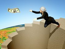 Risk Greed Concept. A businesswoman leaps for money Stock Photo