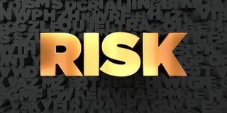 Risk - guld- text på svart bakgrund - 3D framförd fri materielbild för royalty Arkivbilder