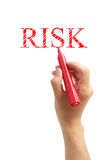 Risk. Hand with red marker drawing the word RISK isolated on white background Stock Image