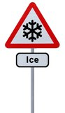 Risk of Ice Ahead. Modified road sign warning of the risk of snow or ice ahead (isolated on white stock photos