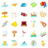 Risk icons set, cartoon style. Risk icons set. Cartoon set of 25 risk icons for web isolated on white background Stock Image
