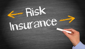 Risk and insurance. Text 'risk insurance'  in white letters on black chalkboard, concept of reducing risk Stock Photo