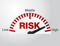 Risk level. Conceptual meter indicate between middle and high level, Vector graphic stock illustration