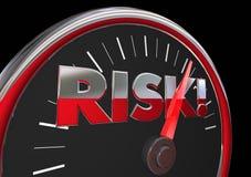 Risk Level Rising Danger Warning Speedometer Stock Photo