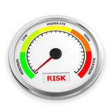 Risk. Level to low miniimum conceptual meter, 3d rendering Royalty Free Stock Photos