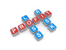 Risk loss and profit. An illustration of a crossword with words risk, loss and profit Stock Photo