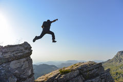 Risk man who jumped from cliffs Royalty Free Stock Images