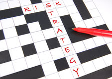Risk management. Risk strategy concept illustrated through a crossword solution royalty free stock photography