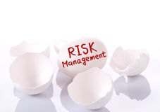 Risk management. Egg and broken eggshells on white background royalty free stock images