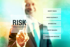 Risk management. Business risk management concept man pointing interface Royalty Free Stock Image