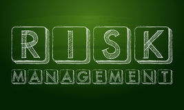 Risk management. Chalk text over black board Stock Image