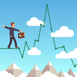 Risk management concept. Business man balancing on a line graph rope above mountains and clouds in the sky. Risk management concept. Flat style vector Stock Photos