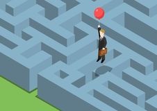 Risk management concept flat 3d web isometric. Infographic. Labyrinth maze puzzle avoid business problems creative smart solutions. Businessman on balloon Royalty Free Stock Photo