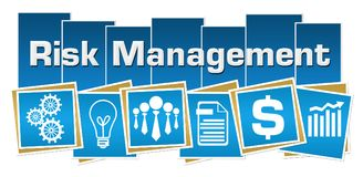Risk Management Business Symbols Blue Squares Stripes. Risk management concept image with text and related symbols Royalty Free Stock Image