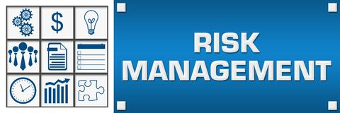 Risk Management Business Symbols Grid Left. Risk management concept image with text and related symbols Stock Image