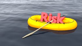 Risk management concept rubber boat on ocean Royalty Free Stock Photo