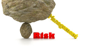 Risk management concept stabilized rocks. Huge rock on top of a small stone ready to crush the word risk in red supported by the word management to prevent a Stock Photos