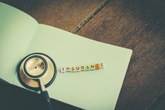 Risk management concept word block INSURANCE on paper. Over wooden background Royalty Free Stock Image