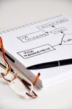Risk management data flow on white paper. Desk stock photo