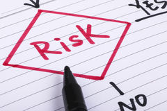 Risk management. Flow chart on paper Royalty Free Stock Photography