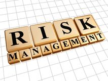 Risk management in golden cubes. Risk management - text in 3d golden cubes with black letters, business concept Stock Photo