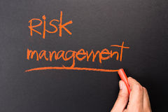 Risk Management. Hand underline Risk Management topic on chalkboard Stock Image