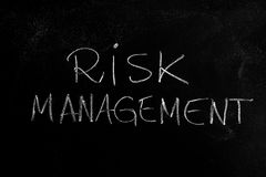 Risk Management. Handwritten chalk text Risk Management on the blackboard stock images