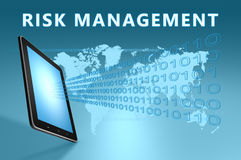 Risk Management. Illustration with tablet computer on blue background royalty free stock image