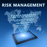 Risk Management. Illustration with tablet computer on blue background Stock Photography