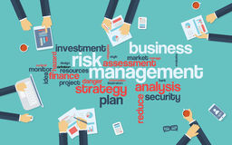 Risk management infographics poster with. Businessmen working around the word cloud. Analysis and planning keywords. Office objects. Eps10 vector illustration Stock Image
