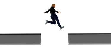 Risk. Jumping across gap in beams Stock Photo